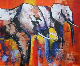 African paintings the Elephants